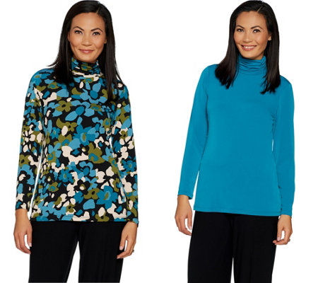 """As Is"" Susan Graver Set of 2 Print and Solid Liquid Knit Turtlenecks"
