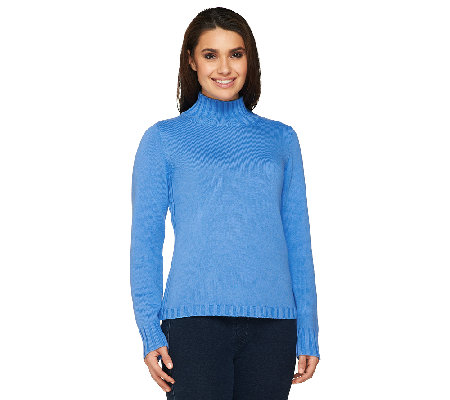 Denim & Co. Stretch Mockneck Pullover Sweater