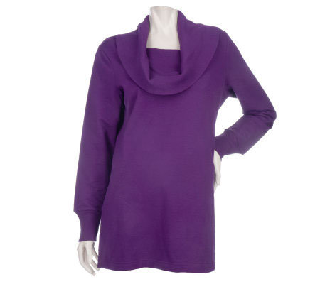 Sport Savvy Drape Cowl Neck Tunic with Ribbed Trim and Front Pockets