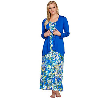 Carole Hochman Abstract Hydrangea Rayon Spandex Lounge Dress Set - A08905