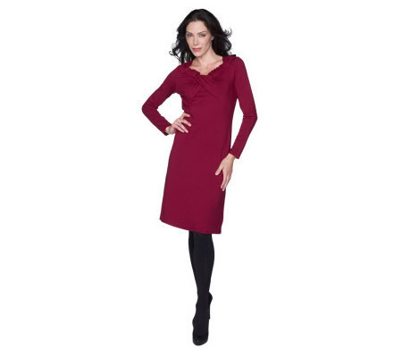 George Simonton Crossover Neck Long Sleeve Dress with Seam Detail