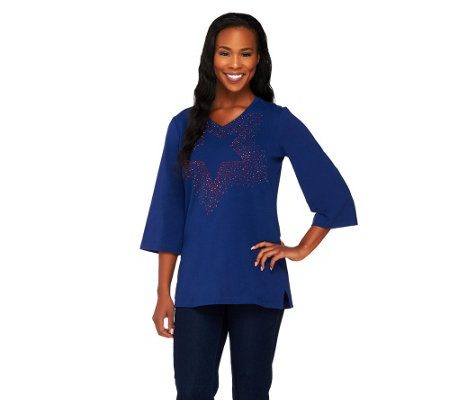 Quacker Factory 3/4 Sleeve Motif Spray Tunic