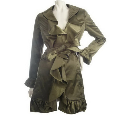 M By Marc Bouwer Ruffle Detail Trench Coat Page 1 Qvc Com