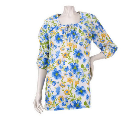 Denim & Co. Square Neck Floral Printed Peasant Tunic