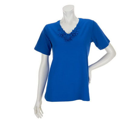 Susan Graver Weekend Stretch Cotton Top with Crochet Trim