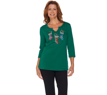 Quacker Factory Super Sparkle Holiday Trio 3/4 Sleeve T-shirt - A238705
