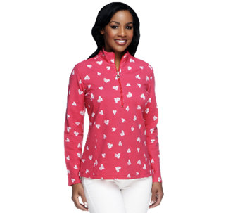 Susan Graver Weekend Printed French Terry Henley Pullover Top - A239805