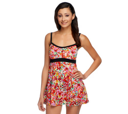 Fit 4 U Thighs Airbrush Floral Banded Empire Swim Dress