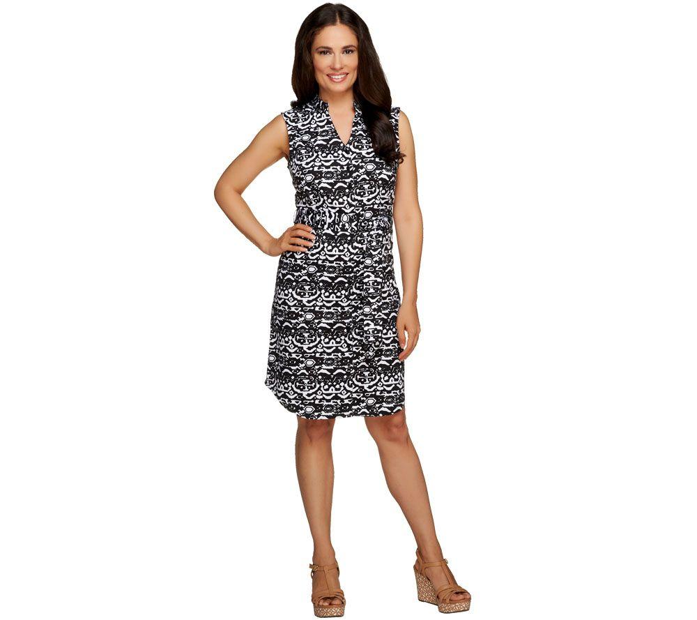Liz Claiborne New York Printed Button Down Dress w/ Tie - A254905