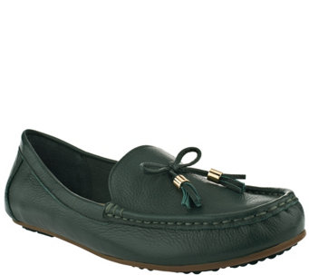 Isaac Mizrahi Live! Pebble Leather Moccasins with Tassel - A255305