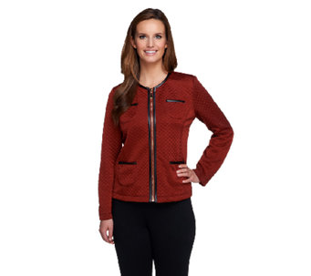 Susan Graver Quilted Knit Zip Front Jacket w/ Faux Leather Trim - A257105