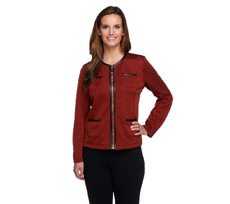 Susan Graver Quilted Knit Zip Front Jacket w/ Faux Leather Trim