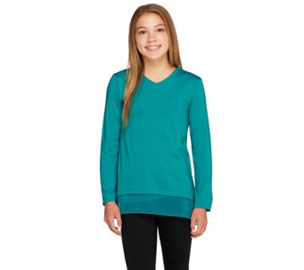 LOGO Littles by Lori Goldstein Knit Top with Hi-Low Hem and Chiffon Trim - A257805