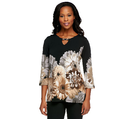 """As Is"" Susan Graver Liquid Knit Placement Print Tunic w/ Embellishments"