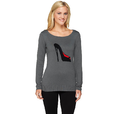 Attitudes by Renee Long Sleeve Motif Sweater