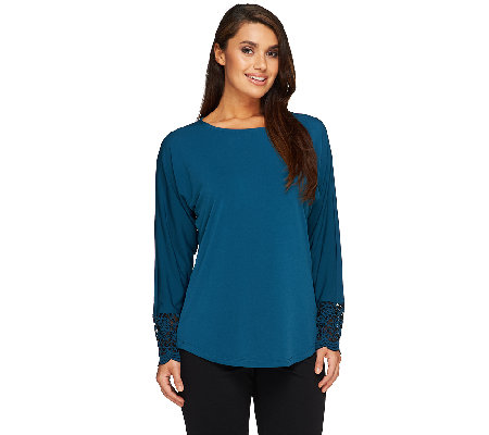 Susan Graver Liquid Knit Dolman Long Sleeve Top w/ Lace Trim Cuffs
