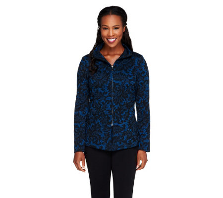 Linea by Louis Dell'Olio Lace Print Jacket with Seaming Detail