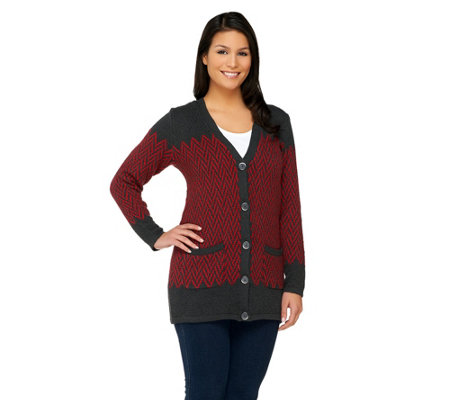 Liz Claiborne New York Chevron Boyfriend Cardigan