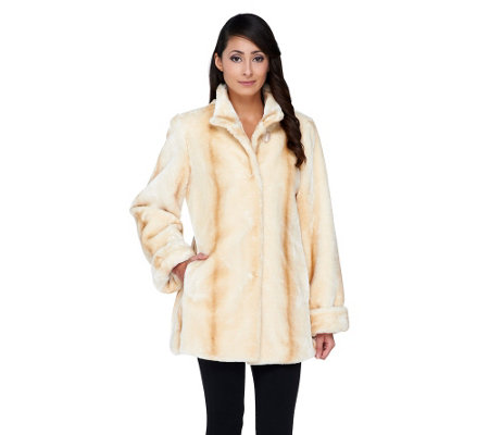 Dennis Basso Tipped Faux Mink Fur Stand Collar Coat