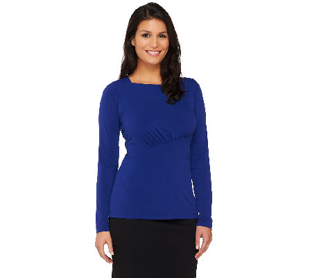 George Simonton Bateau Neck Top with Asymmetric Front Ruching Detail