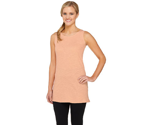 LOGO Layers by Lori Goldstein Slub Knit Straight Hem Tank