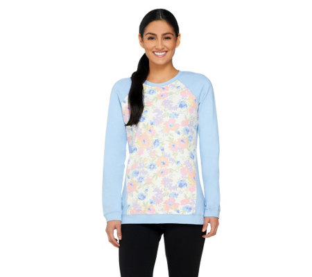 Denim & Co. Active French Terry Sweatshirt with Floral Print
