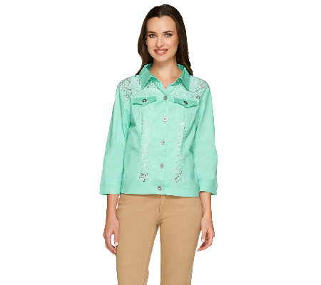 Joan Rivers Cropped Lightweight Denim Jacket w/ Lace Detail