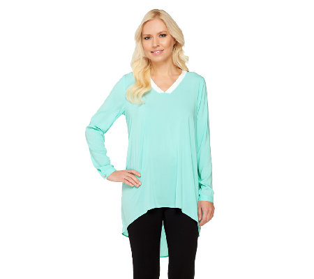 Susan Graver Stretch Woven V-Neck Tunic w/Contrast Trim and Hi-Low Hem
