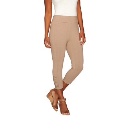 LOGO by Lori Goldstein Capri Leggings with Ruching Details