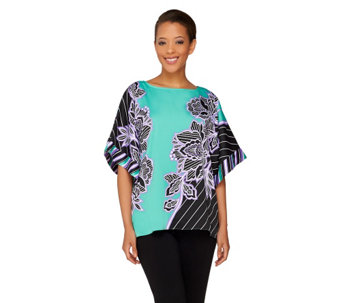 Bob Mackie's Boatneck Pinstripe and Floral Printed Caftan Top - A263605