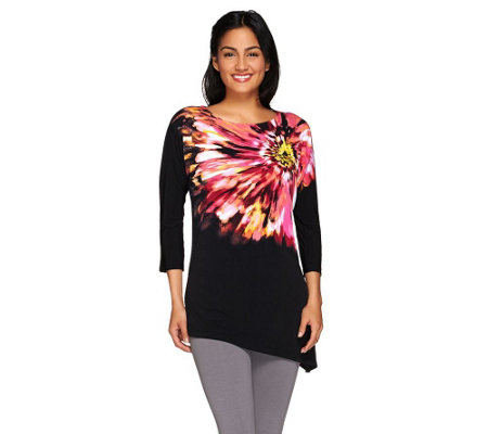 Susan Graver Printed Liquid Knit Bateau Neck Dolman Sleeve Top