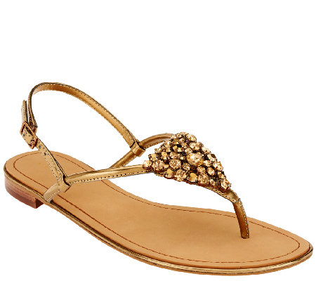 Marc Fisher Jeweled Thong Sandals w/ Backstrap - Rady II