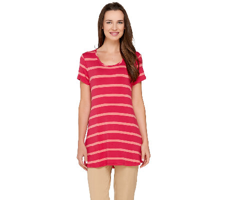 LOGO by Lori Goldstein Short Sleeve Scoop Neck Stripe Top