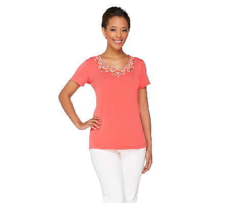 Susan Graver Artisan Liquid Knit Embellished U-Neck Top
