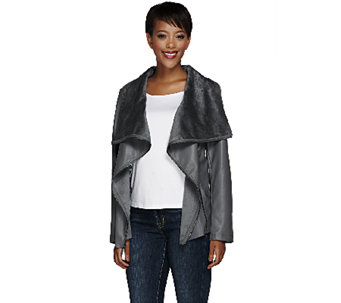 Dennis Basso Faux Leather Drape Front Moto Jacket - A267705
