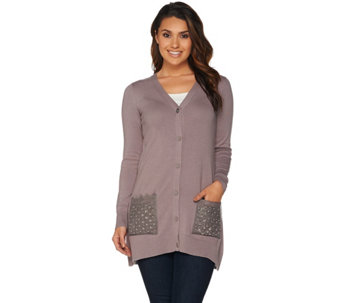 LOGO Lavish by Lori Goldstein Knit Cardigan with Pocket Embellishment - A267905