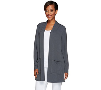 Susan Graver Passport Knit Open Front Cardigan with Pockets - A268005