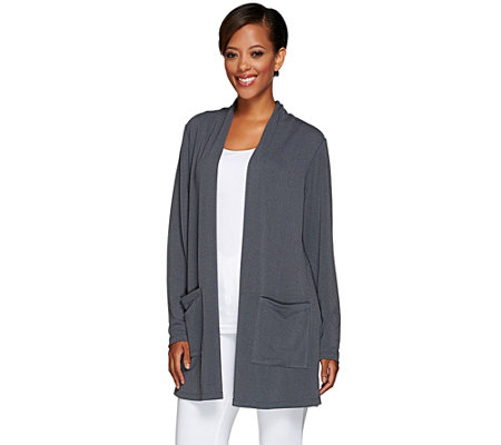 Susan Graver Passport Knit Open Front Cardigan with Pockets