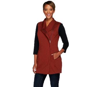 Lisa Rinna Collection Knit Vest with Asymmetric Zip Front - A268105