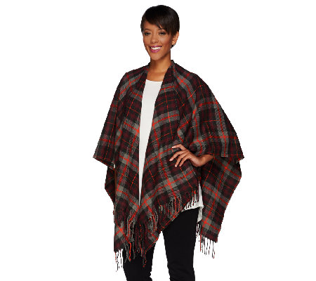 Isaac Mizrahi Live! Plaid Ruana with Fringe