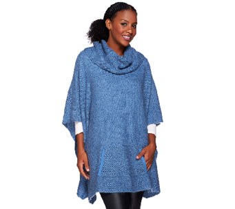 H by Halston Cowl Neck Sweater Poncho with Pocket - A269405