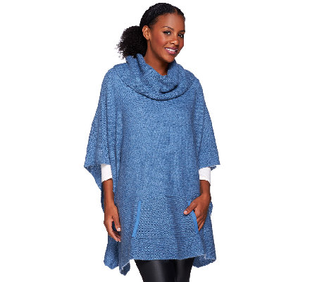 H by Halston Cowl Neck Sweater Poncho with Pocket