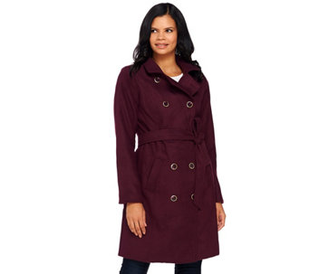 Isaac Mizrahi Live! Double Breasted Peacoat w/ Belt - A269505