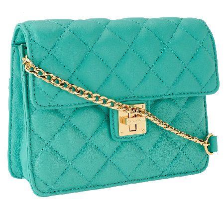 """As Is"" Isaac Mizrahi Live! Small Quilted Lamb Leather Bag"