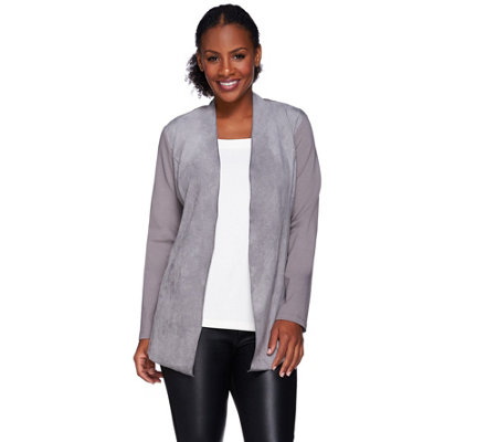 Susan Graver Ponte Knit Open Front Cardigan with Faux Suede