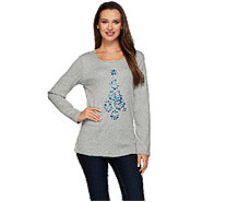Quacker Factory Bejeweled Tree Long Sleeve T-Shirt - A270605