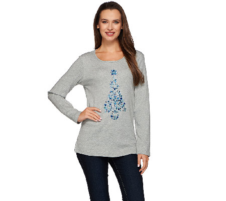 Quacker Factory Bejeweled Tree Long Sleeve T-Shirt