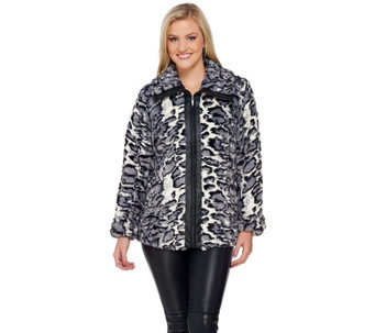 Dennis Basso Faux Fur Zip Front Jacket w/ Faux Leather Trim - A271105