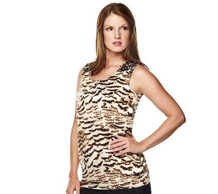 """As Is"" K-DASH by Kardashian Animal Print Tunic with Sequin Detail"