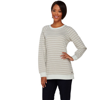 Isaac Mizrahi Live! SOHO Raglan Sleeve Striped Sweatshirt